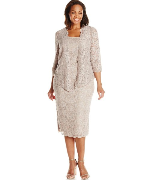 short lace tow piece champagne mother of bride plus size dress Alex Evenings