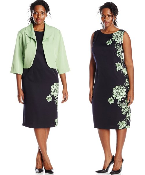 short navy mint floral plus size mother of bride dress set Maya Brooke