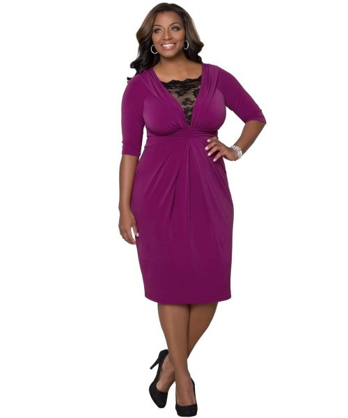 short purple v-neck sleeve mother of bride plus size dress Kiyonna