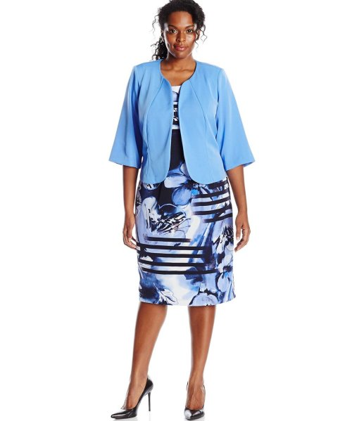 short stripe blue two piece plus size mother of bride dress set Maya Brooke