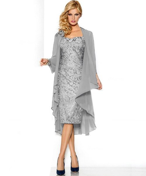 silver two piece lace mother of bride dress plus size jacket Belle House