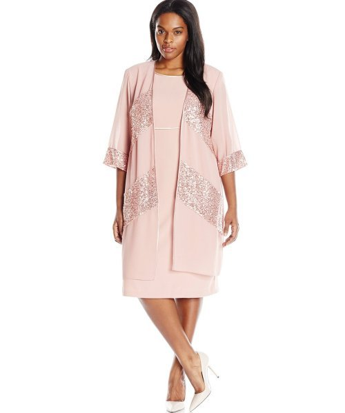two piece plus size pink mother of bride dress sequin duster jacket Le Bos