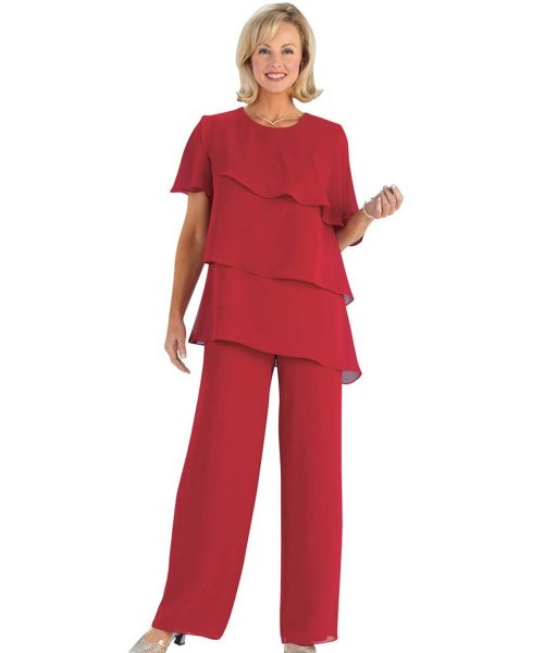 two piece red ruffle plus size mother of bride pant suit AmeriMark