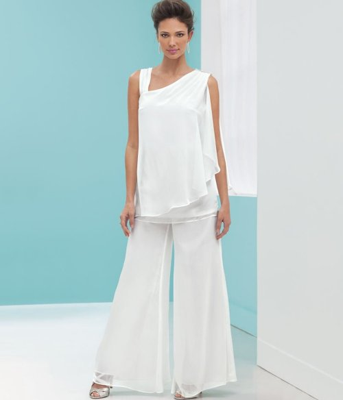 white two piece mother of bride plus size pant suit Stacy Adams