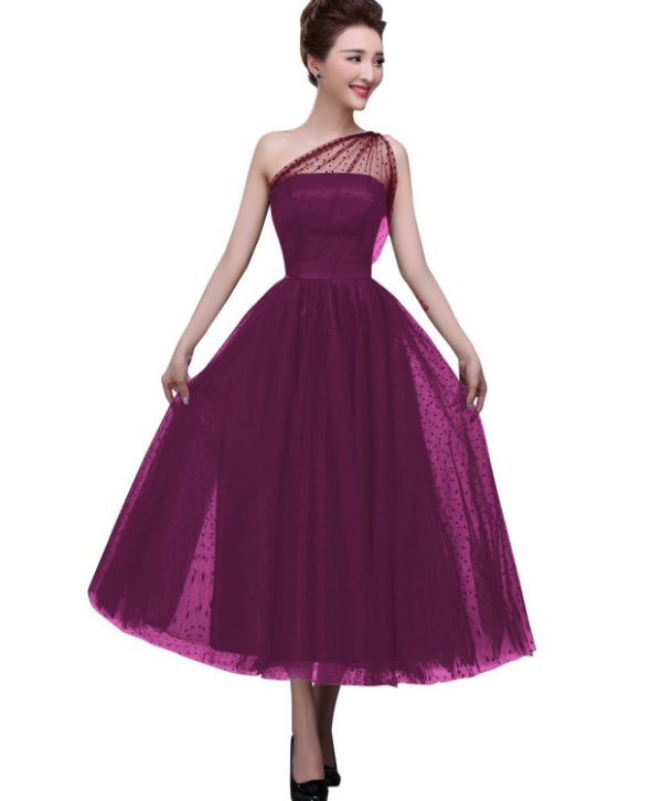 sexy one shoulder tea length purple mother of the bride dress BeryLove