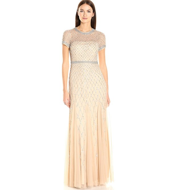 Adrianna Papell beige crystal beaded short sleev mother of the beride gown