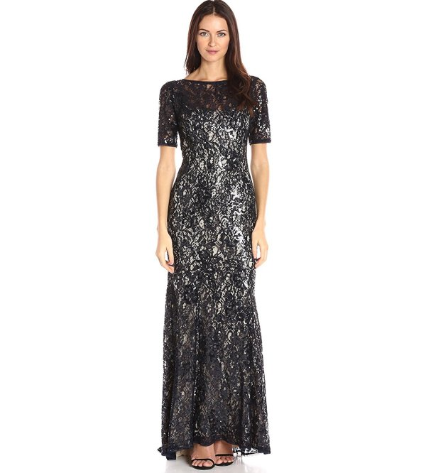Adrianna Papell black sequin short sleeve mother of the bride dress