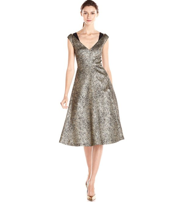 Tracy Reese Antique Gold mother of thr bride a-line dress