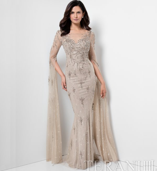 beaded mother of thr bride gown with dramatic lace caplet sleeves Terani
