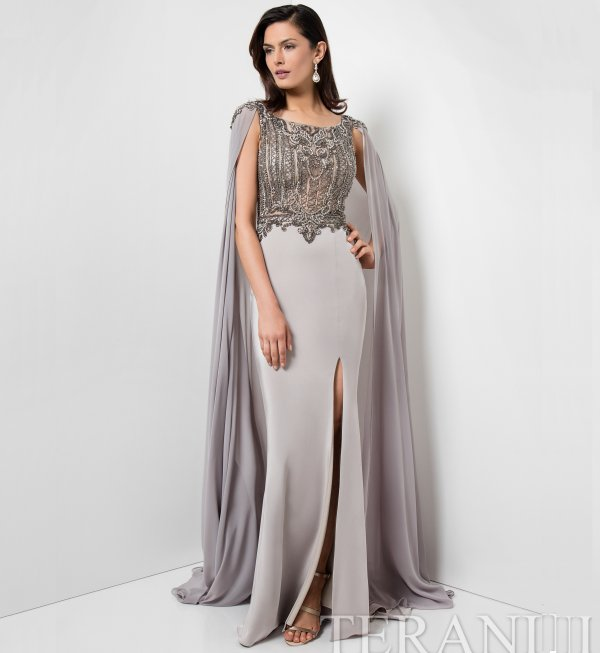 beaded terani mother of the bride dress with cape Terani