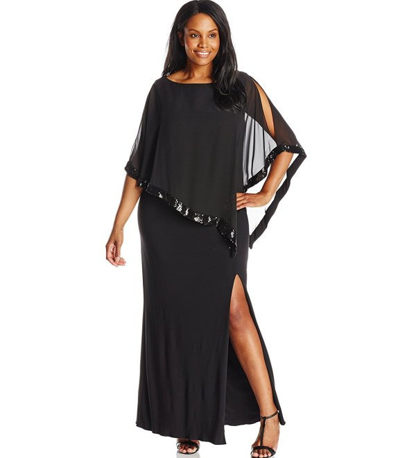 beautiful black plus size mother of the bride dress with lace overlay Xscape