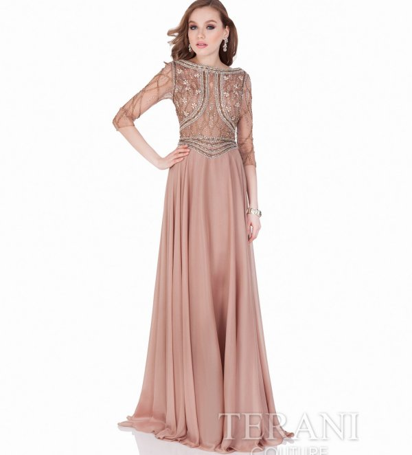 classy mother of the bride dress with beaded floral top Terani