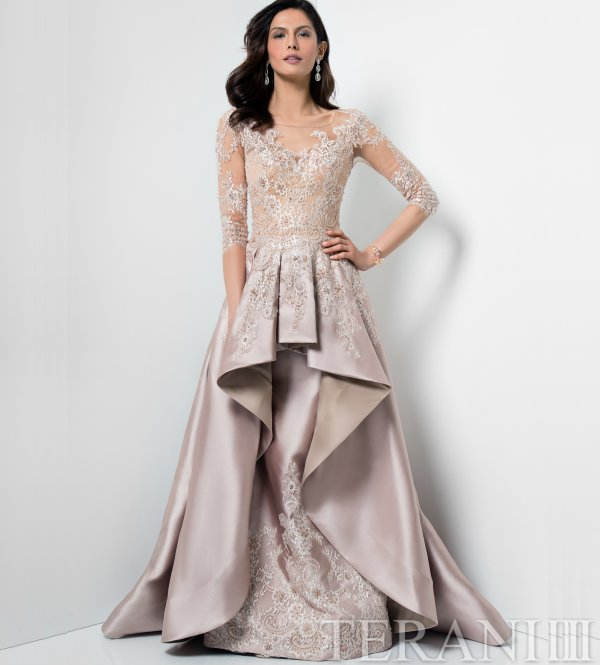 champagne peplum high low mother of thr bride dress Terani Couture