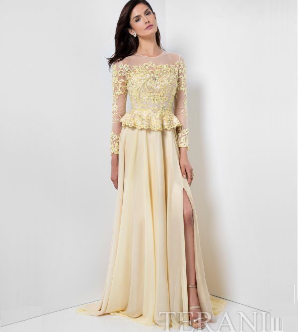 embroidered long sleeve yellow mother of the bride dress Terani Couture