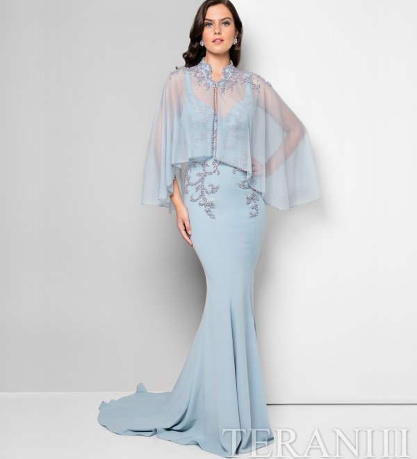 gorgeous blue gown with cape Terani Couture