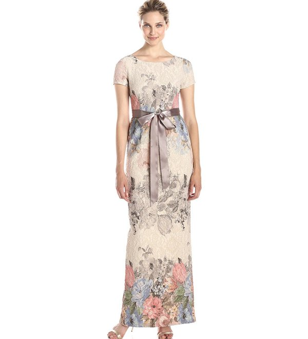 long floral mother of the bride gown short sleeve Adrianna Papell