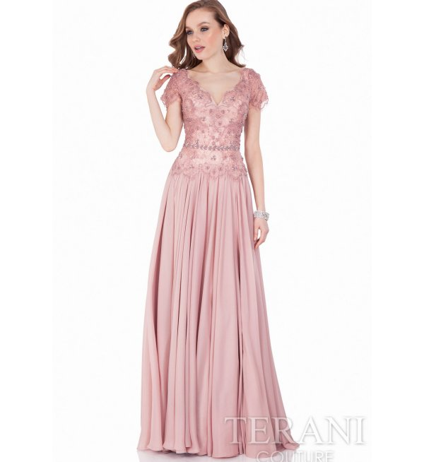 long rose floral beaded mother of thr bride dress Terani Couture