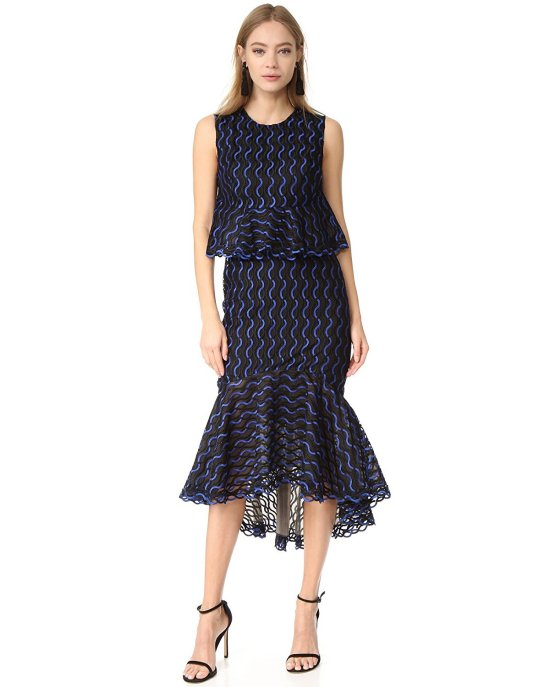 luxury black and blue mother of the bride ruffle dress by Lela Rose