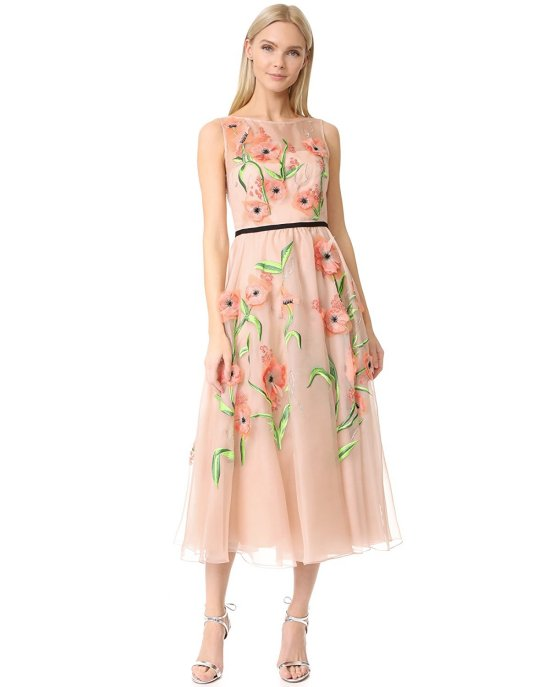luxury floral blush mother of the bride embroidered dress by Lela Rose