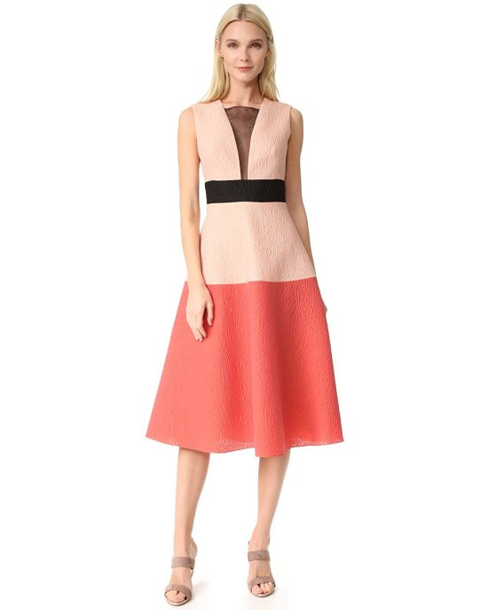 luxury pink colorblock jacquard mother of the bride dress by Lela Rose