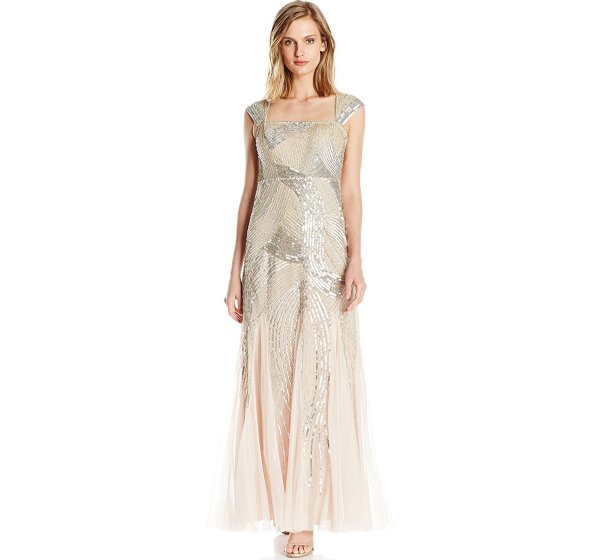 beaded gold petite mother of the bride groom dress with cap sleeves Adrianna Papel