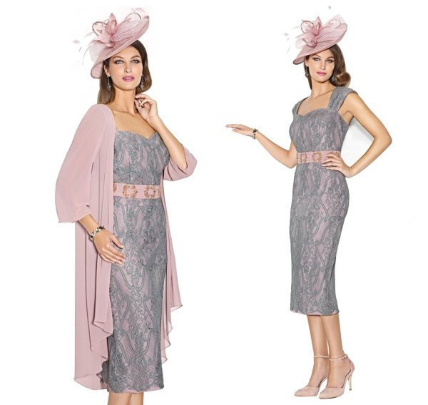 grey lace two piece mother of bride dress with pink jacket Newdeve