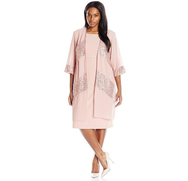 light pink 2 piece summer dress for mother of the bride Le Bos sequin trim
