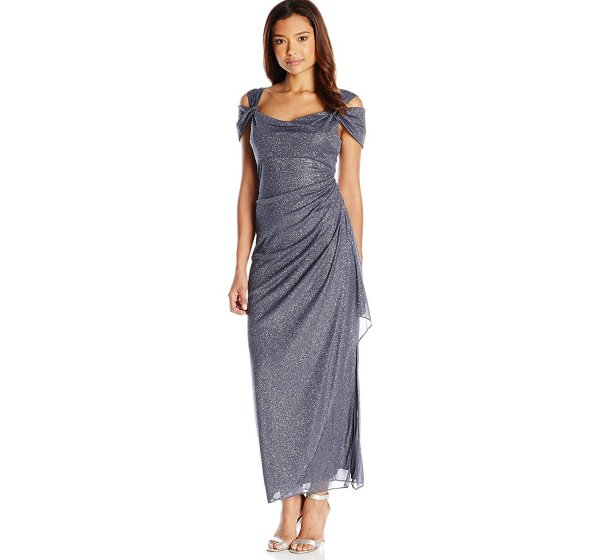 long grey sequin petit mother of the bride dress side ruched skirt Alex Evenings