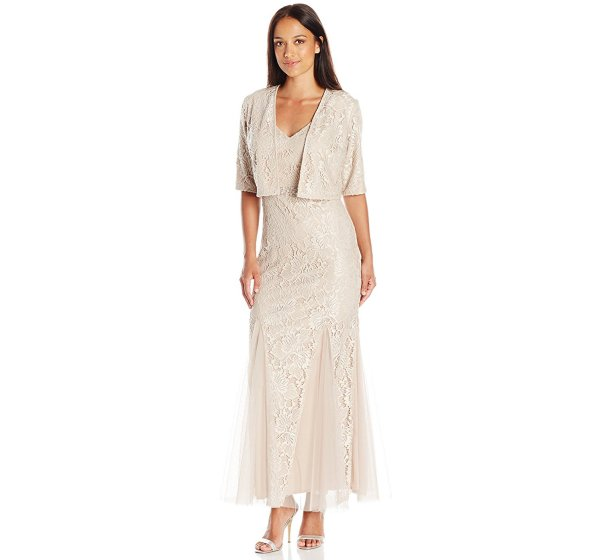 petite long ivory mother of the bride groom lace dress jacket Alex Evenings