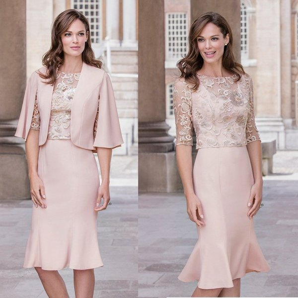 pretty light pink 2 piece mother of the bride summer dress lace 2017 Fenghuavip