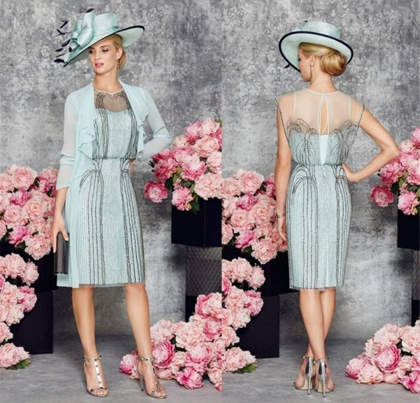 two piece light blue mother of the bride summer dress 2017 Fenghuavip
