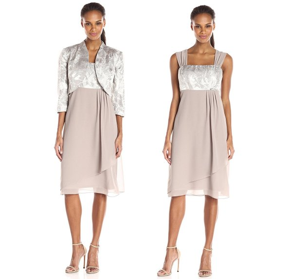 two piece taupe mother of the bride summer dress with Jacquard Jacket Le Bos