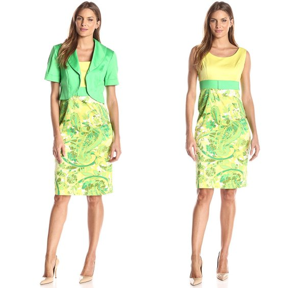 yellow green 2 piece summer dress for mother of bride Le Bos