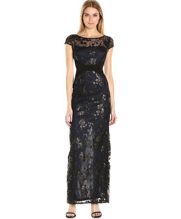 Adrianna Papell black embroiderry mother of the bride dress sale