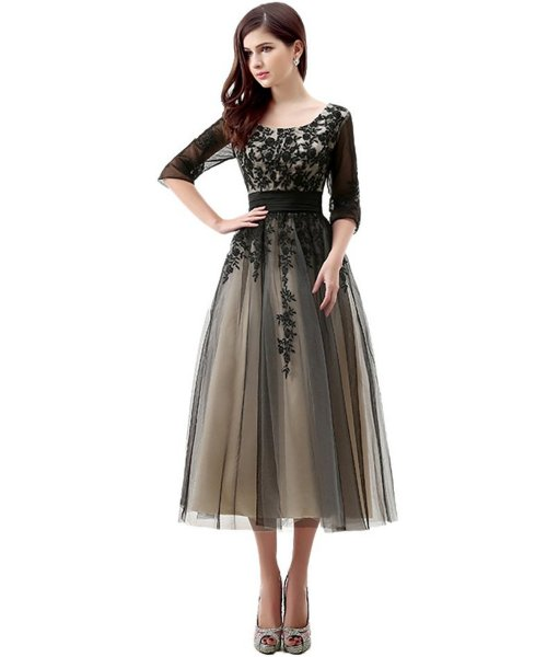 Elegant Black Lace Mother Of Bride Dress With Sleeves 2017 By Engerla Tea Length
