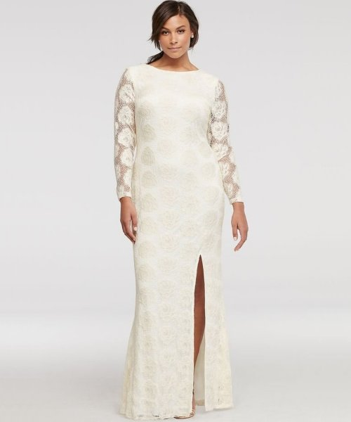 Long Sleeve Ivory Plus Size Mother Of Teh Bride Dress Davidsbridal