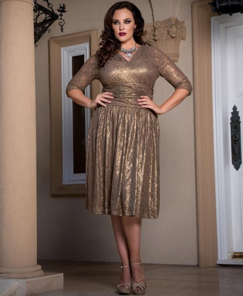 0564c704f011 short gold lace ruched plus size mother of bride dress Kiyonna sleeves